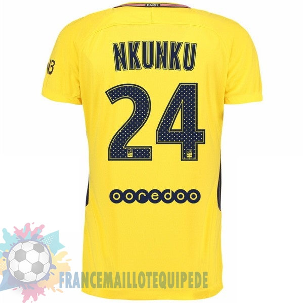 Magasin De Foot Nike NO.24 Nkunku Exterieur Maillots Paris Saint Germain 2017 2018 Jaune