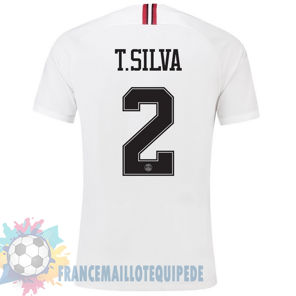 Magasin De Foot JORDAN NO.2 T.Silva Third Exterieur Maillots Paris Saint Germain 18-19 Blanc