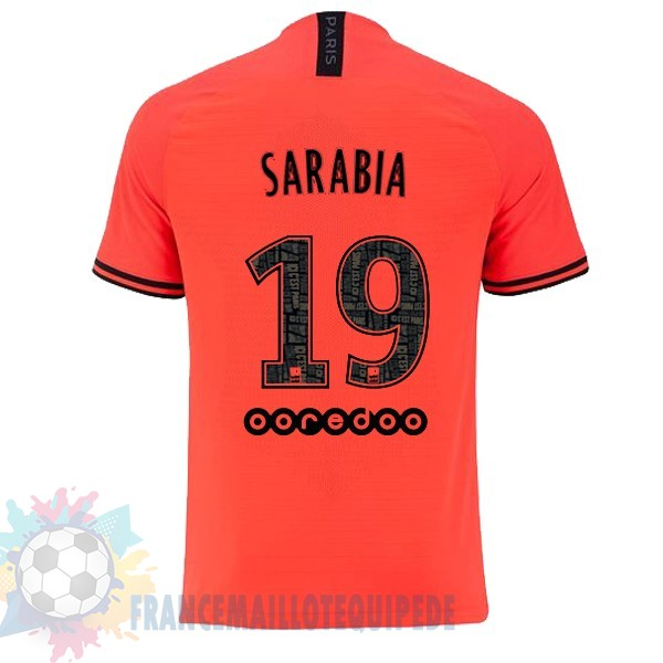 Magasin De Foot JORDAN NO.19 Sarabia Exterieur Maillot Paris Saint Germain 2019 2020 Orange