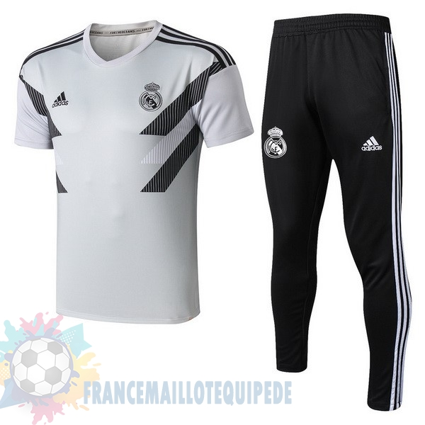 Magasin De Foot adidas Entrainement Ensemble Real Madrid 2018 2019 Blanc Gris